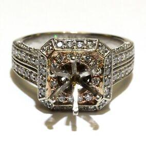 14k multi tone gold 1.23ct SI1 G diamond double Halo semi mount engagement ring