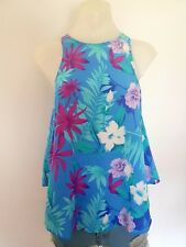 Womens Forever New Silk Floral Halter Blouse Tank Top, Open Back, Ladies Size 8