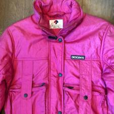 Womens VTG Descente Hot Pink Full Zip Puffy Nylon Ski Snowboard Jacket Coat S