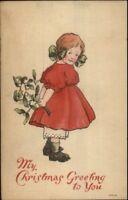 Christmas - Cute Little Girl w/ Mistletoe c1910 Postcard