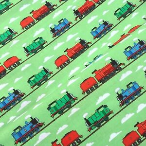 Thomas the tank engine and friends character trains blue 100% cotton fabric