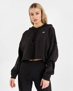 Adidas Originals Fakten Glam Terry Cotton Oversized Cropped Hoodie Black Size 12