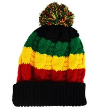Knitted Beanie Bobble Hat Rasta Colour one size Black Red Yellow Green Ski Hat