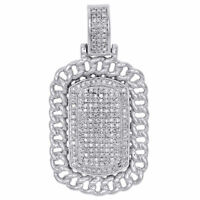 "10k White Gold Miami Cuban Link Diamond Dog Tag Pendant 1.55"" Pave Charm 0.59 CT"