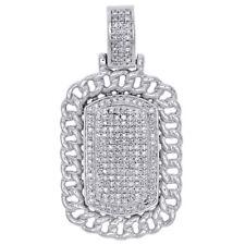 "Miami Cuban Link Diamond Dog Tag Pendant 10k White Gold 1.55"" Pave Charm 0.59 Ct"