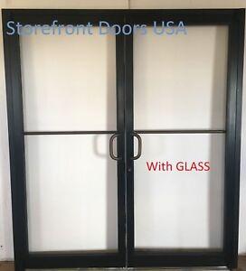 Bronze Commercial Storefront Door pair w GLASS 6'0 x 7'0