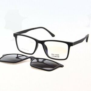 Polarized Magnetic Sunglasses Clipon Sun Glasses TR90 Frame Eyewear Matte Black