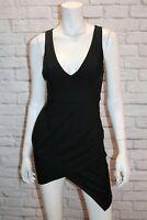 Luvalot Brand Black V Neck Asymmetric Fitted Dress Size 8 BNWT #TM06