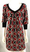 Renee C  Shift Dress Midi V Neck 3/4 Sleeve Silky Red & Black Dress Size S/M