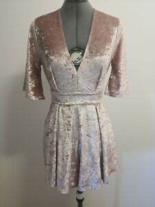 dotti romper playsuit size 6 Dusty pink velvet fabric