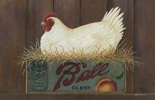 New Primitive Chicken Hen Antique Mason Ball Jar Floor Mat Rug Non Skid
