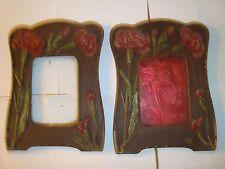 Due Art Nouveau in legno Cornici foto buone condizioni, alcuni danni