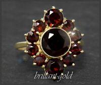 Granat Damen Ring aus 333 Gold, 6,20ct rote Granate, Antik Gelbgold Cocktailring