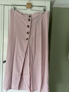 New Look Pink Long Button Up Linen Mix Skirt Size 14 BNWT