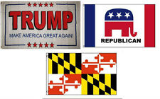 3x5 Trump White #2 & Republican & State of Maryland Wholesale Set Flag 3'x5'