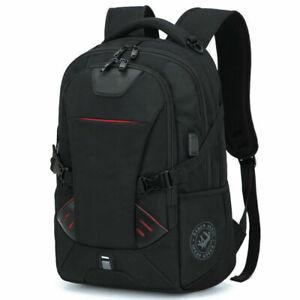 "Mens Oxford School Backpack Satchel Laptop Notebook Zipper Casual Travel Bag 16"""
