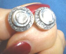 MUST HAVE ANTIQUE GENUINE 1.5 CT OLD ROSE CUT DIAMOND STUD 14K EARRINGS