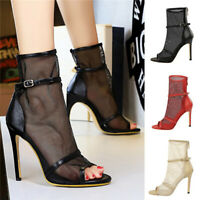 Sexy Women Peep Toe Gauze Ankle Boots Nightclub Party Stiletto Sandals Zip Shoes