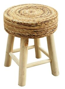 Wood & Natural Banana Leaves Handmade Sturdy Stool for Adults and Children