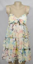 CANDIE'S White Yellow Pink Blue Floral Print Dress Large Spaghetti Straps Tiered