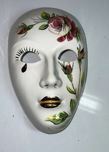 "Hand Painted Ceramic/ Porcelain Wall Hanging Face Mask, White & Gold Tone, 8""."