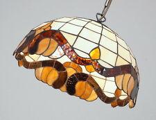 edle Tiffany Glas Deckenleuchte Pendelleuchte Hängeleuchte Halbkugel 60er Jahre