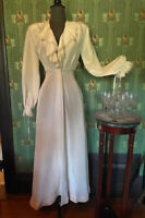 Vtg 1940s Angelic White Dressing Gown Victorian Style Ruffles Maxi Dress Robe XS