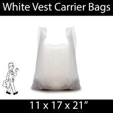 More details for white vest carrier bag 11x17x21 strong shopping groceries market stalls reusable