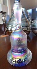"SCARCE Large Signed Joe St. Clair Art Glass Paperweight BELL Iridescent 7.5"""