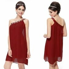 One Shoulder Burgundy Rhinestones Chiffon Short Dress Sz.10 $60