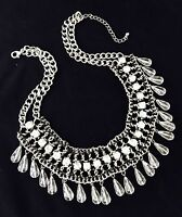 Designer Statement Necklace Black Thread Briolette Crystal Premier Urban Chic 8D