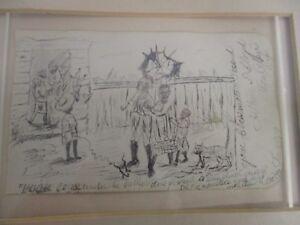 ANTIQUE SIGNED 1878 ARTHUR D LLOYD MONTCLAIR NJ SMALL WHIMSICAL PENCIL SKETCH