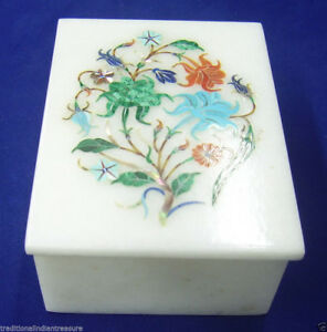 "4""x3""x2"" Marble Jewelry Storage Box Mosaic Inlay Marquetry Art Home Decorative"