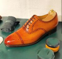 Handmade Men's Tan Color Leather Shoes, Men Cap Toe Dress Formal Lace Up Shoes