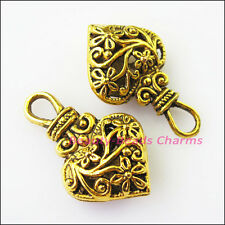 4Pcs Antiqued Gold Tone Purse Heart Flower Charms Pendants 19x31mm