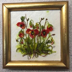 Miniature Dollhouse OOAK 3D Floral Poppies Picture Stunningly Detailed.