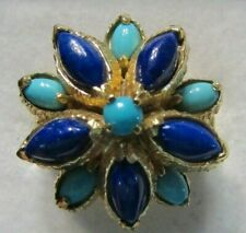 VINTAGE 14K YELLOW GOLD LAPIS TURQUOISE FLOWER DOME RING SZ 6