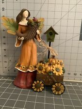 Cornucopia Resin Angel With Pumpkins And Sunflowers