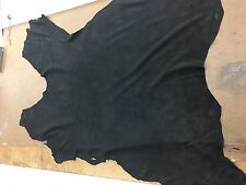 Italian Lamb Suede Leather Skin Hide Jet black - 3 Sq.Ft (2 oz)
