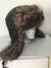 BLACK LEATHER RACCOON FUR MEN HAT Sz.M 23''         n18-10