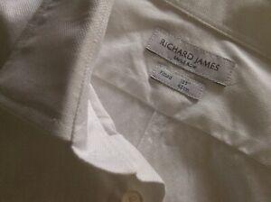 "Richard James Savile Row Mens Textured White Shirt Long Sleeved 16.5"" RRP £130"