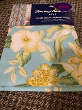 "Tommy Bahama Hawaiian Floral Hibiscus Aqua Blue Cotton Shower Curtain 72""x72"""