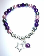 BEAUTIFUL GLASS PEARL BEAD STRETCH BRACELET IN PURPLES & GREY WITH A STAR DANGLE