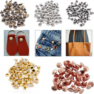 100pcs Double Cap Tubular Rivets Metal for DIY Leather Crafts Handbags Repair