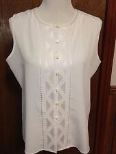 Beautiful Yves St. Clair Size 16 Sleeveless Blouse White