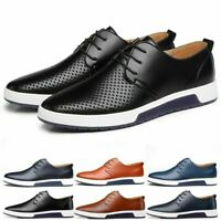 Fashion Men Casual Leather Shoes Sneakers Oxford Breathable Lace-up Summer Shoes
