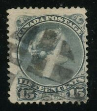 Canada 1868 Large Queen 15c blue grey Perf 11.5 x 12 Plate Scratch POS 9 #30viii