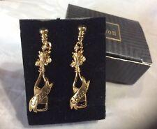 "Avon Goldtone ""Toast to New Year� Pierced Earring surgical Steel Post Dangle Nib"