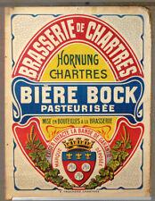 """Rare Ancienne Affiche Brasserie de Chartres """"Bière Bock"""" G. Hornung"""