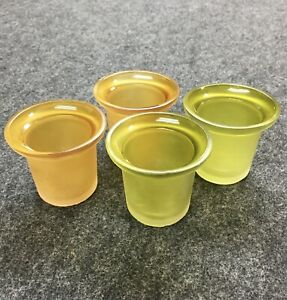 4 Vintage Gold Green Frosted Glass Votive Candle Holders Home Decor Harvest Y